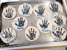 "Father's Day Craft. ""My dad rocks!"" Salt Dough, aquarium pebbles, paint :)"