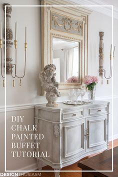 Have you got a piece of furniture that could use some freshening up? Here's how I used shades of white chalk paint to update a vintage sideboard. -----> #chalkpaintedfurniture #howtopaintfurniture #howtousechalkpaint  #whitechalkpaint #diningroomdecor #diningroomideas #vintagesideboard #frenchcountry #frenchcountrydecor #designthusiasm