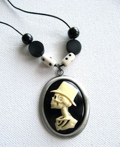Skeleton Man Cameo Pendant Necklace by artspiritdesigns on Etsy, $20.00