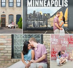 Minneapolis mural - Northeast Minneapolis engagement photos by Bryan Jonathan Weddings.