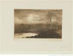 Paysage aux deux Bouleaux et à la Mare, entre 1880 et 1913, eau-forte et aquatinte à l'encre brune, 13,2 x 19,8 cm, Bibliothèque Nationale de France à Paris.