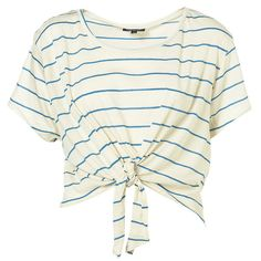 Striped Crop With Knotted Tie ($28) ❤ liked on Polyvore featuring tops, t-shirts, shirts, blusas, women, white crop tee, striped tee, white t shirt, crop top y cotton t shirt