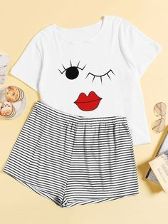 To find out about the Plus Face Print Striped Pajama Set at SHEIN, part of our latest Plus Size Pajama Sets ready to shop online today! Cute Pajama Sets, Cute Pajamas, Striped Pyjamas, Chor, Plus Size Lingerie, Plus Size Dresses, Lounge Wear, Fashion News, Cute Outfits
