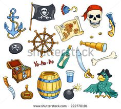Pirate cartoon vector set. Isolated on white. - stock vector