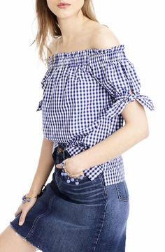 J.Crew Gingham Off the Shoulder Top