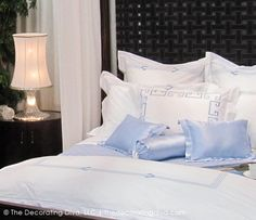 Blue & White Bedding. James Rixner Design Architectural Digest Home Show | The Decorating Diva, LLC