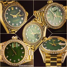 Rolex 18k Yellow Gold Oyster Perpetual Green Dial Diamond Set Datejust Ladies 69158. #Rolex #Gold #Green #Diamond #Datejust #Ladies #Wristwatch #Luxury #Timepiece #WatchCentre #London