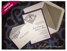 Custom black and purple wedding invitation suite - contact me at www.enicholsdesign.com for more details.