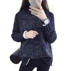 2016 Spring Women  Wool  Loose Knitted Casual Sweater Choker Dot  Long Sleeve Fashion  Thickening Stretch Girl's Pullover