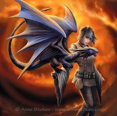 - Dragon Trainer Card (Anne Stokes Dragons Cards) at Enchanted Jewelry & Gifts Anne Stokes, Dragon Girl, Baby Dragon, Fantasy Creatures, Mythical Creatures, Fantasy Characters, Female Characters, Vampires, Pet Anime