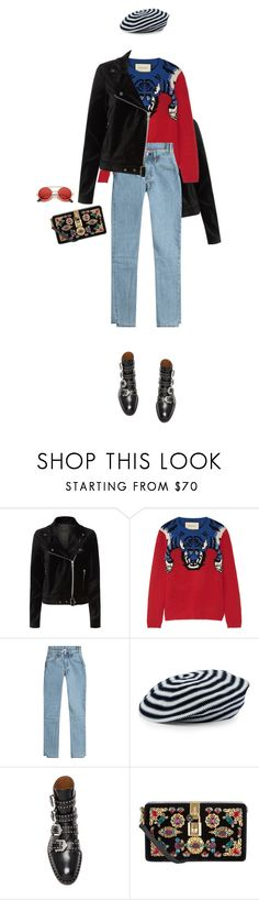 """""""Untitled #570"""" by fanfan-zheng ❤ liked on Polyvore featuring Paige Denim, Gucci, Vetements, Sonia Rykiel, Givenchy, Dolce&Gabbana and ZeroUV"""