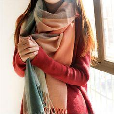 冬のスカーフ女性毛布チェック柄スカーフ女性のショールやスカーフ暖かい女性ティペットlic