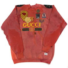 U.S ALTERATION GUCCI ARMY VINTAGE DISTRESSED SWEATSHIRT WITH PATCHWORK AND FUR DETAIL XL