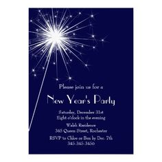Sparkler New Year's Eve Party Invitation in Blue