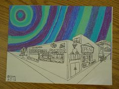 5th grade drawing: 2-point perspective. Love the sky (cut out and added to the drawing) but needs some color repeated