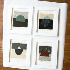 """Four little """"sketches"""" all framed up and behind glass, away from grubby touchy-feeley hands! I made these when we were travelling to, from and around Tennessee with my @boardandbread loom. I strongly endorse this product for any delayed, multi-stop, cross-continent flights.  Vancouver, you'll see these buds soon at @studio126yvr !"""