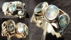 SALE Gem Moonstone cabochon and 2 Blue faceted by KalaKali on Etsy, €70.00