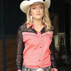 Those hot afternoon rodeos are just around the corner. Stay cool and stylish as you enter the arena in this coral snap shirt with black lace on the shoulders, yokes, and arms. The lace meets the shirt with white and black contrast embroidery. Cowgirl Outfits, Equestrian Outfits, Western Outfits, Western Wear, Cowgirl Fashion, Cowgirl Dresses, Cowgirl Clothing, Country Girl Style, Country Fashion