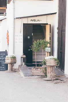 Avelia shop / Turku, Finland / Noora&Noora nooraandnoora.com Turku Finland, Helsinki, Garage Doors, Outdoors, Culture, Places, Outdoor Decor, Shop, Travel