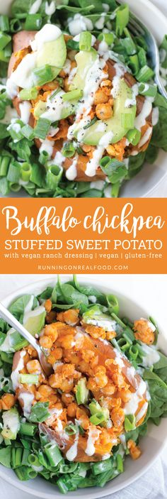 These buffalo chickpea stuffed sweet potatoes with vegan ranch dressing are easy to make with everyday ingredients. Topped with avocado and green onion, they makes a filling, flavourful and highly nutritious plant-based meal.