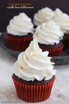 A classic combo, chocolate and vanilla pair perfectly in these rich and tender chocolate cupcakes topped with a dreamy vanilla bean buttercream