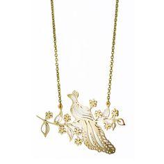Monserat De Lucca -   Brass Peacock on Branch Necklace