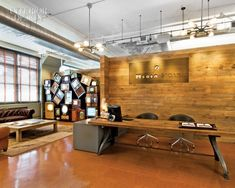 vintage+reception+desks | The vintage workshop table, used as the reception desk, looks an awful ... Commercial Architecture, Architecture Office, Architecture Design, Law Office Design, Office Interior Design, Office Designs, Corporate Interiors, Office Interiors, Commercial Office Design