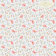 """CLOUD9 Bio Baumwolle """"Bird Song Pink"""" von Eulenmeisterei - Biostoffe auf DaWanda.com"""