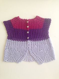 Crochet Pink Purple Lilac Pure Cotton Baby Girl Sweater with Rose Bottons - 1 to 2 years old, Spring Clothing