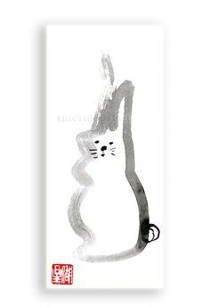 Easter Rabbit Chinese Zodiac Year of the Rabbit by ZenBrush Birth Animal, Zen Brush, Zen Painting, Year Of The Rabbit, Zodiac Years, Lucky Rabbit, Sumi Ink, Japanese Illustration, Zodiac Symbols