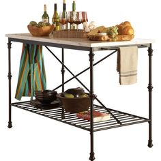 Charming and quaint, this kitchen island sports a French bistro design with shaped metal legs. Add some extra storage and prep space to your kitchen with the kitchen island's broad top surface, metal grid shelf, and two racks for dish towels.