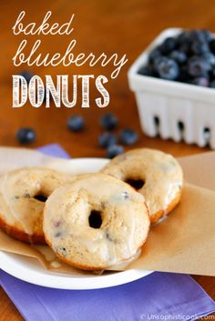 Baked Blueberry Donuts -- these baked donuts filled with fresh blueberries are sure to become a go-to favorite for Sunday brunch!