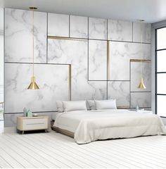 Personality Marble Gold Wallpaper Geometric Gold TV Background Wall Bedroom Design Wall Art – Wallpaper's Page Modern Bedroom, Contemporary Bedroom, Bedroom Interior, Bedroom Design, Luxurious Bedrooms, Bedroom Layouts, Bed Design, Bedroom Wall, Rustic Bedroom Design
