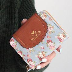 De japón mujeres del estilo Rural carteras estampado de flores de impresión dulce dama Carteira cerrojo monedero carteras titular de la tarjeta