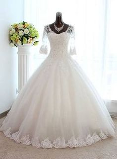 Outlet Glorious Plus Size Wedding Dresses, New Arrival Half Sleeve Lace Ball Gown Wedding Dress Crystal Tulle Plus Size Bridal Gown Bateau Wedding Dress, Crystal Wedding Dresses, Applique Wedding Dress, Wedding Dresses Plus Size, Colored Wedding Dresses, Bridal Dresses, Gown Wedding, Ivory Wedding, Wedding Venues