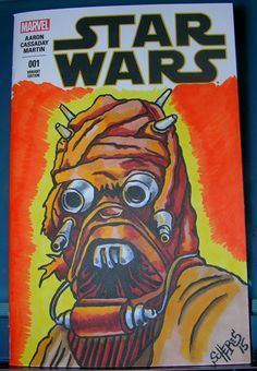 ORIGINAL ART STAR WARS SKETCH COVER TUSKEN RAIDER DRAWING ONE OF A KIND SCHERES