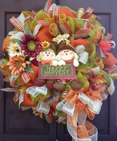 Fall wreath/Deco mesh wreath/Scarecrow by KarensCustomWreaths, $85.00