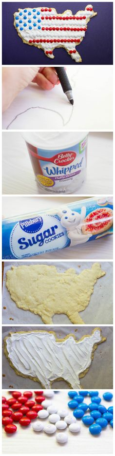 Flag Sugar Cookie Pizza for this holiday weekend!