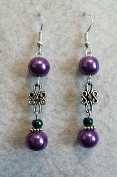 Dangle Earrings Purple Pearl Earrings Prom by uniquelyyours2010