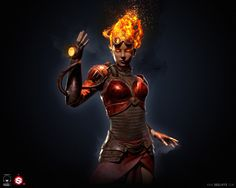 chandra nalaar 3d zbrush character toolbag 2 substance painter realtime game model magic the gathering mtg card game planeswalker fire sexy mage wizard woman red hair