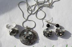 Armreife - Kette Anhänger Ring Ohrring silber grau schwarz  - ein Designerstück von trixies-zauberhafte-Welten bei DaWanda