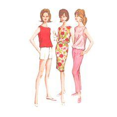 1960s Chemise Blouson Top Skinny Slacks Short Shorts by Redcurlzs