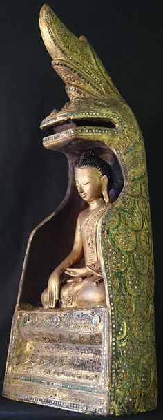 AGE: – 19th – Early 20th Century. Thayo Lacquer, glass mosiacs, gilded Burmese Hollow Lacquer Buddha Statue Seated Under Naga.