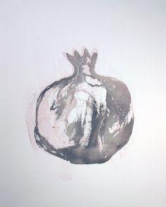 Pomegranate Grenade Watercolor Monoprint Painting by ANKarabin, $25.00