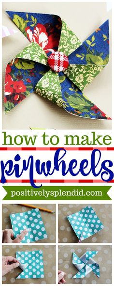 How to Make DIY Paper Pinwheels - This method for making paper pinwheels is easy and great for using paper scraps! #papercrafts #pinwheels #crafts