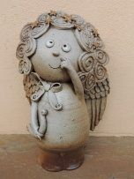 Michaela Lindovská | Galerie V-ATELIER Types Of Angels, Clay Angel, Pottery Angels, Garden Sculpture, Lion Sculpture, Michaela, Clay Crafts, Art Education, Polymer Clay