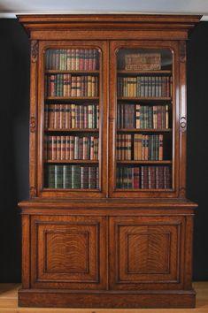 bookcase   Antique Victorian Oak Bookcase