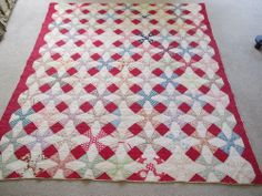 Vintage Antique Handmade Quilt Turkey Red Star & Circle Star&Flower Circa 1900 $595.00