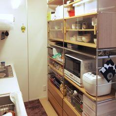 Kitchen/無印良品/BRUNOホットプレート/ユニットシェルフ 無印/ステンレスユニットシェルフ/ポリプロピレンファイルボックス...などのインテリア実例 - 2016-01-24 07:55:49 | RoomClip (ルームクリップ)