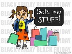 Black Friday VICTORY!  --  Love this Black Friday cartoon?  Be sure to heart, re-pin, and follow for more Little Buttonhead comic adventures!
